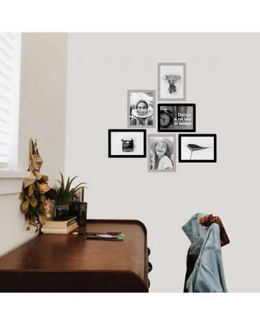 Composition murale - 3 cadres photo 10 x 15 argent et 3 cadres photo 10 x 15 noir - idée décoration murale bureau